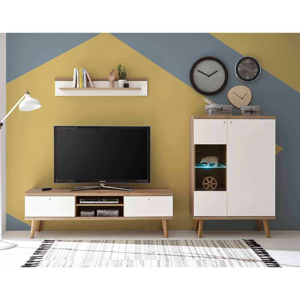 TV Wohnwand in Weiß und Eiche 250 cm breit (dreiteilig)