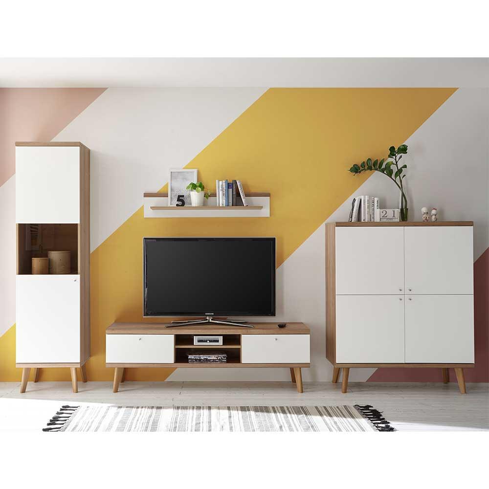 TV Wohnwand in Weiß und Eiche Skandi Design (vierteilig)