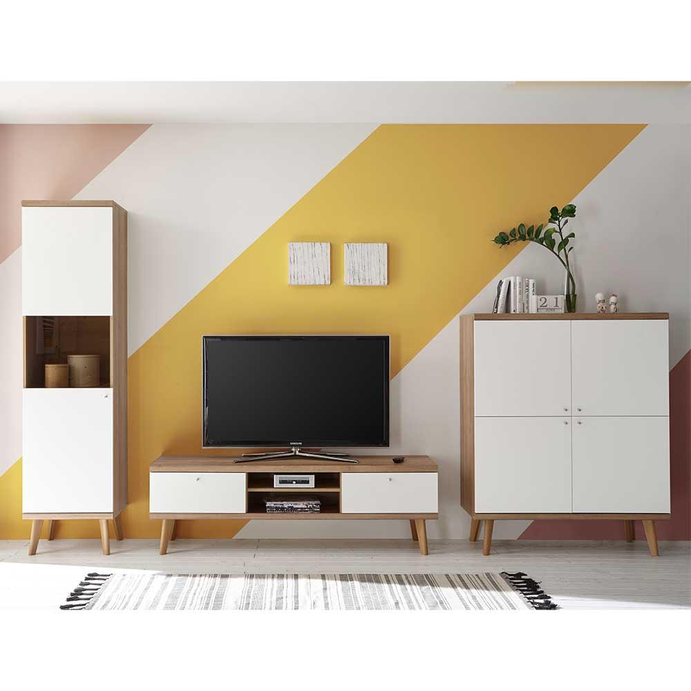 Wohnwand in Weiß und Eiche Skandi Design (dreiteilig)