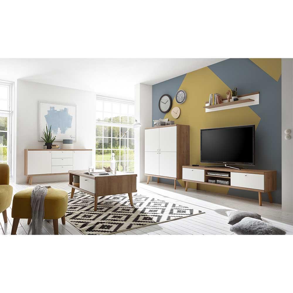 Moderne Wohnwand in Weiß und Eiche Skandi Design (fünfteilig)