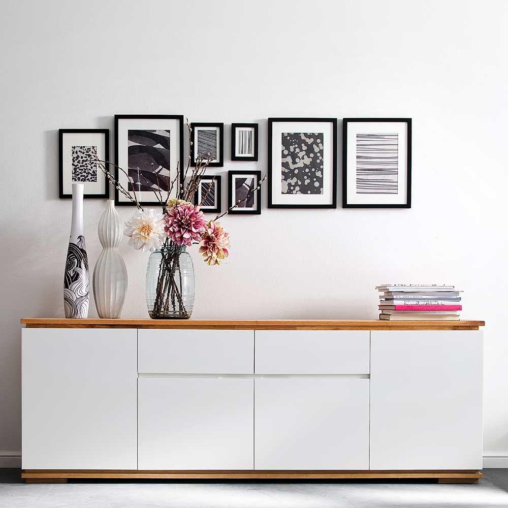 Griffloses Sideboard in Weiß Asteiche Massivholz