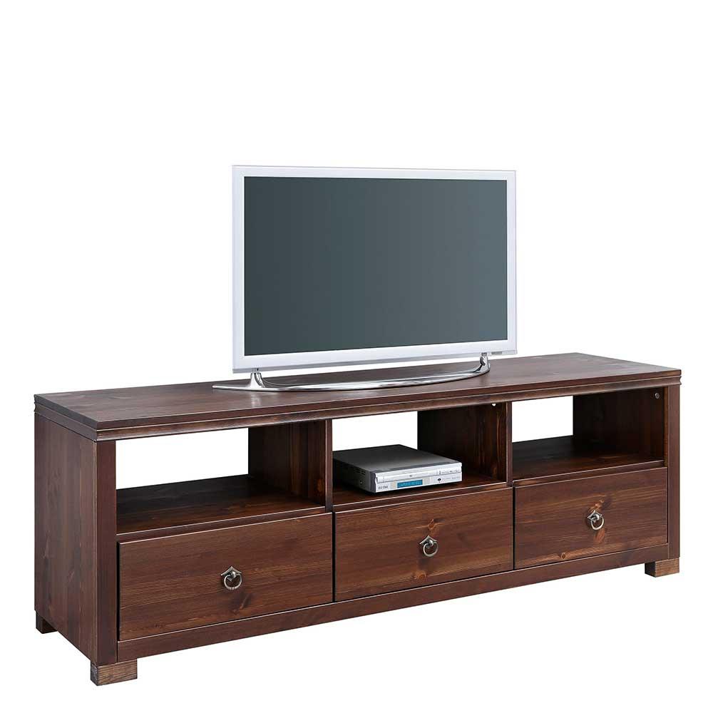 Landhaus TV Möbel in Dunkelbraun lackiert Kiefer Massivholz