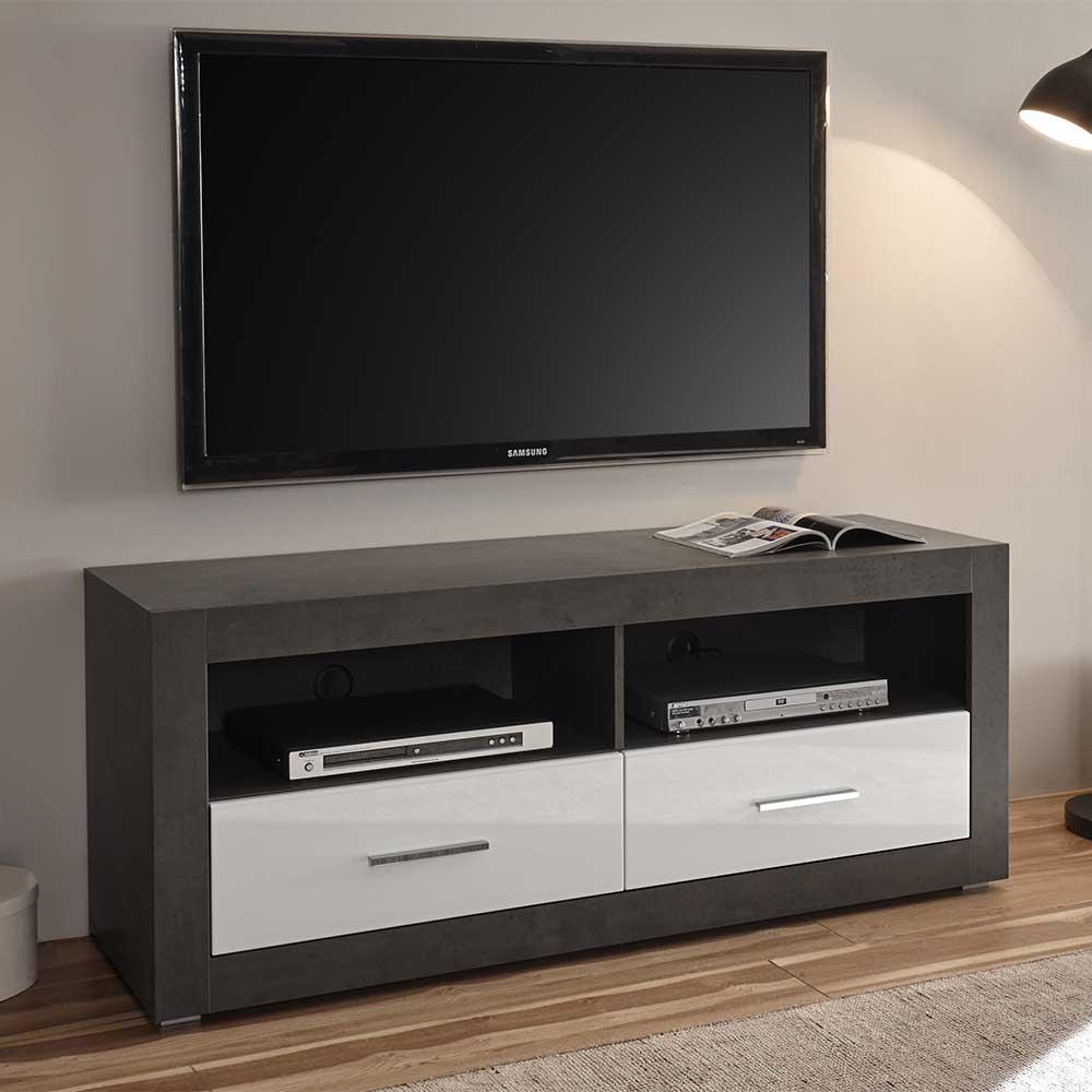 TV Möbel in Weiß Hochglanz und Beton Grau 150 cm breit