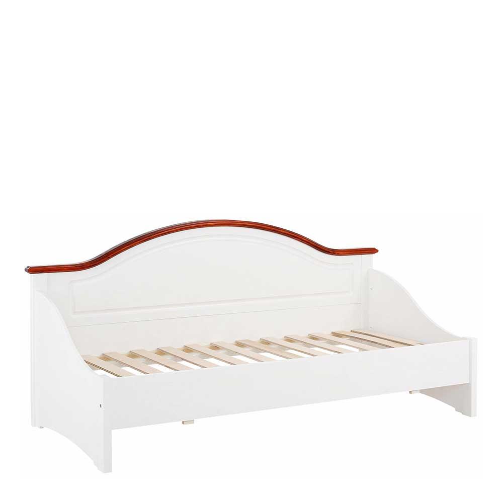 Landhaus Bettgestell in Weiß und Kirschbaumfarben Lattenrost | Schlafzimmer > Betten > Landhausbetten | Weiß | Massivholz | Massivio