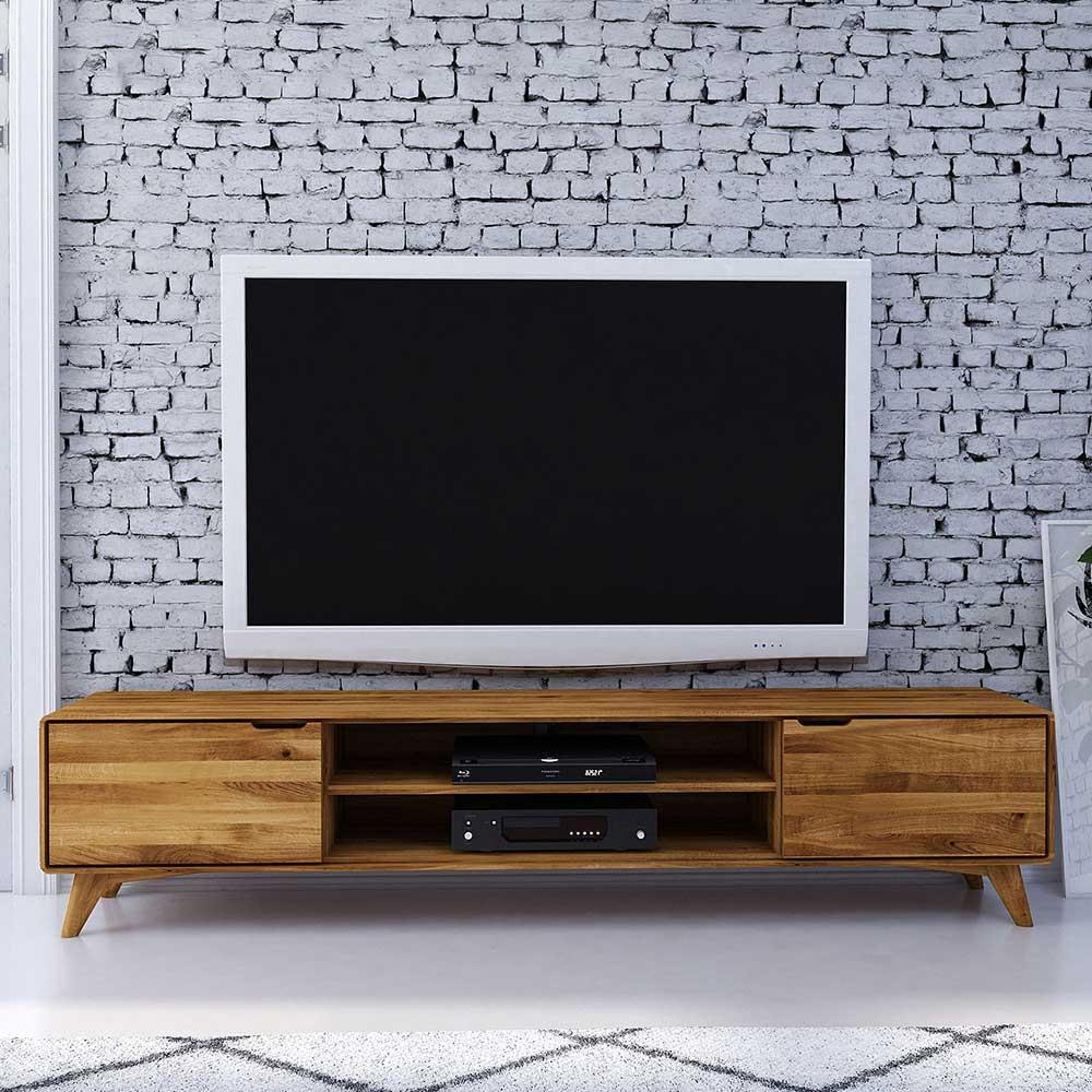 TV Lowboard aus Wildeiche Massivholz 220 cm breit