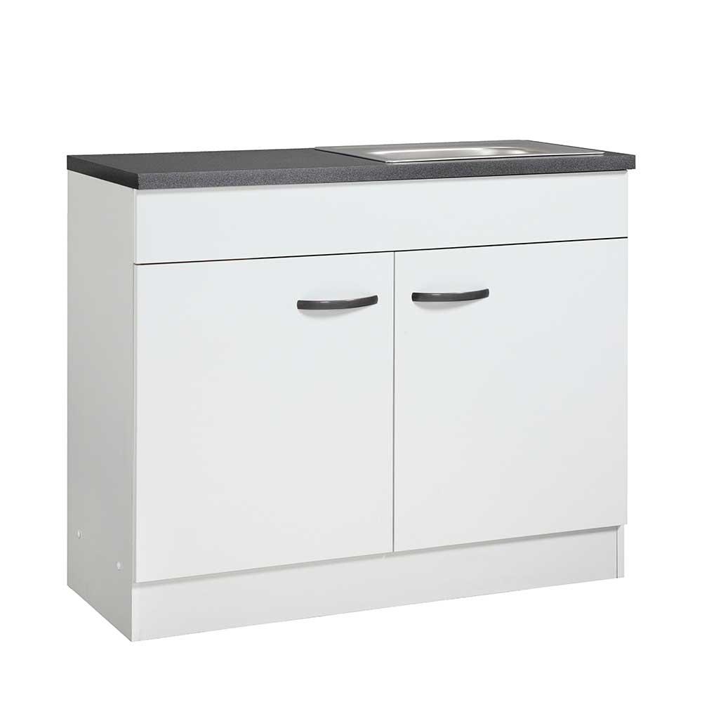 Spülenunterschrank in Weiß und dunkel Grau 100 cm breit | Küche und Esszimmer > Küchenschränke > Spülenschränke | Weiß | Spanplatte - Holzwerkstoff | Star Möbel