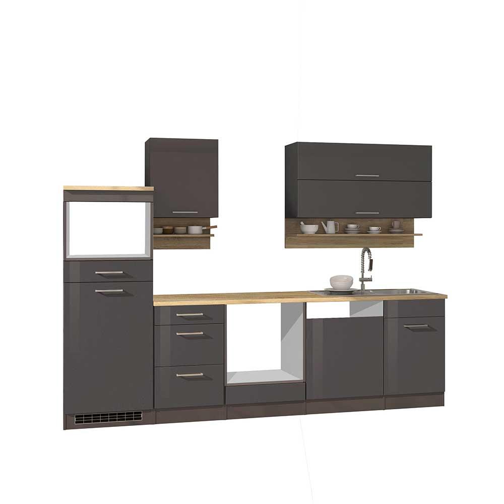 Küchenblock in Grau hochglänzend 280 cm breit (neunteilig)