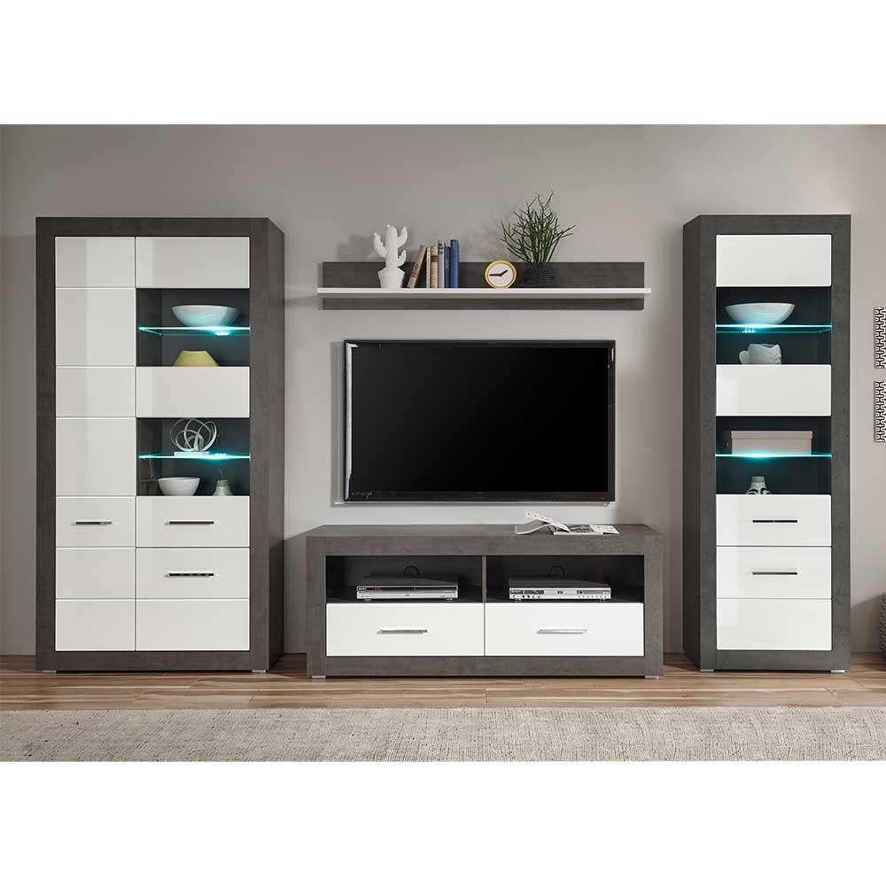 Fernseher Wohnwand in Weiß Hochglanz und Beton Grau 315 cm breit (vierteilig)