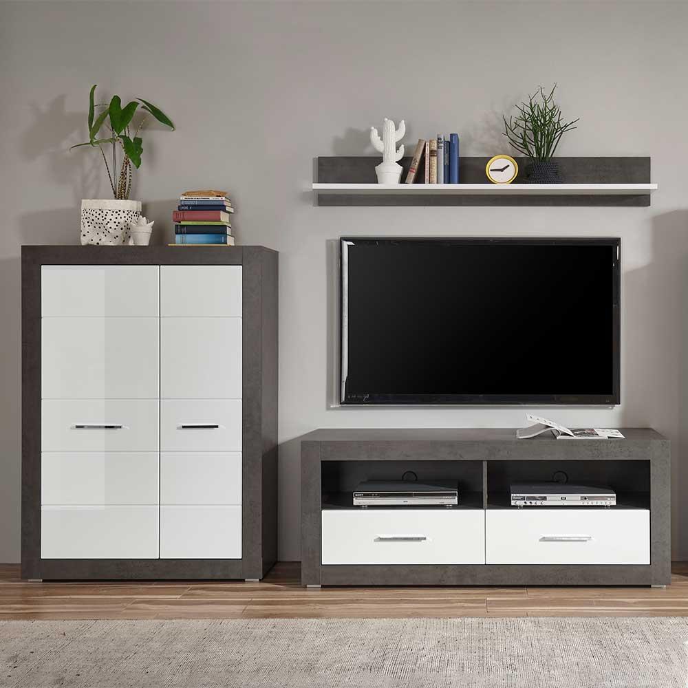 TV Wohnwand in Beton Grau und Weiß Hochglanz 250 cm breit (dreiteilig)