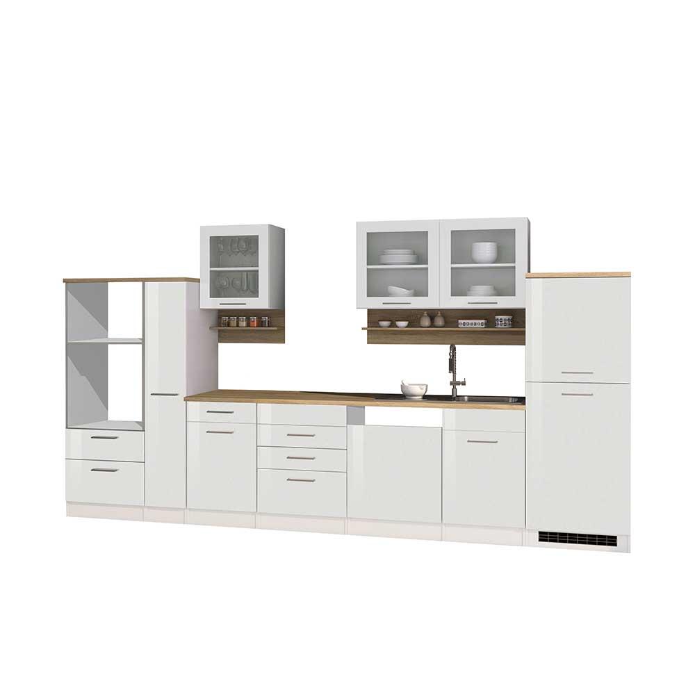 Küchenblock in Weiß Hochglanz Sonoma Eiche (zwölfteilig)