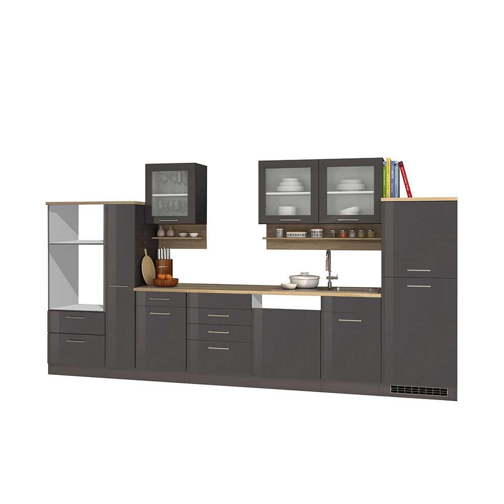 Küchenblock in Grau hochglänzend modern (12-teilig) | Küche und Esszimmer > Küchen > Küchenzeilen | Star Möbel