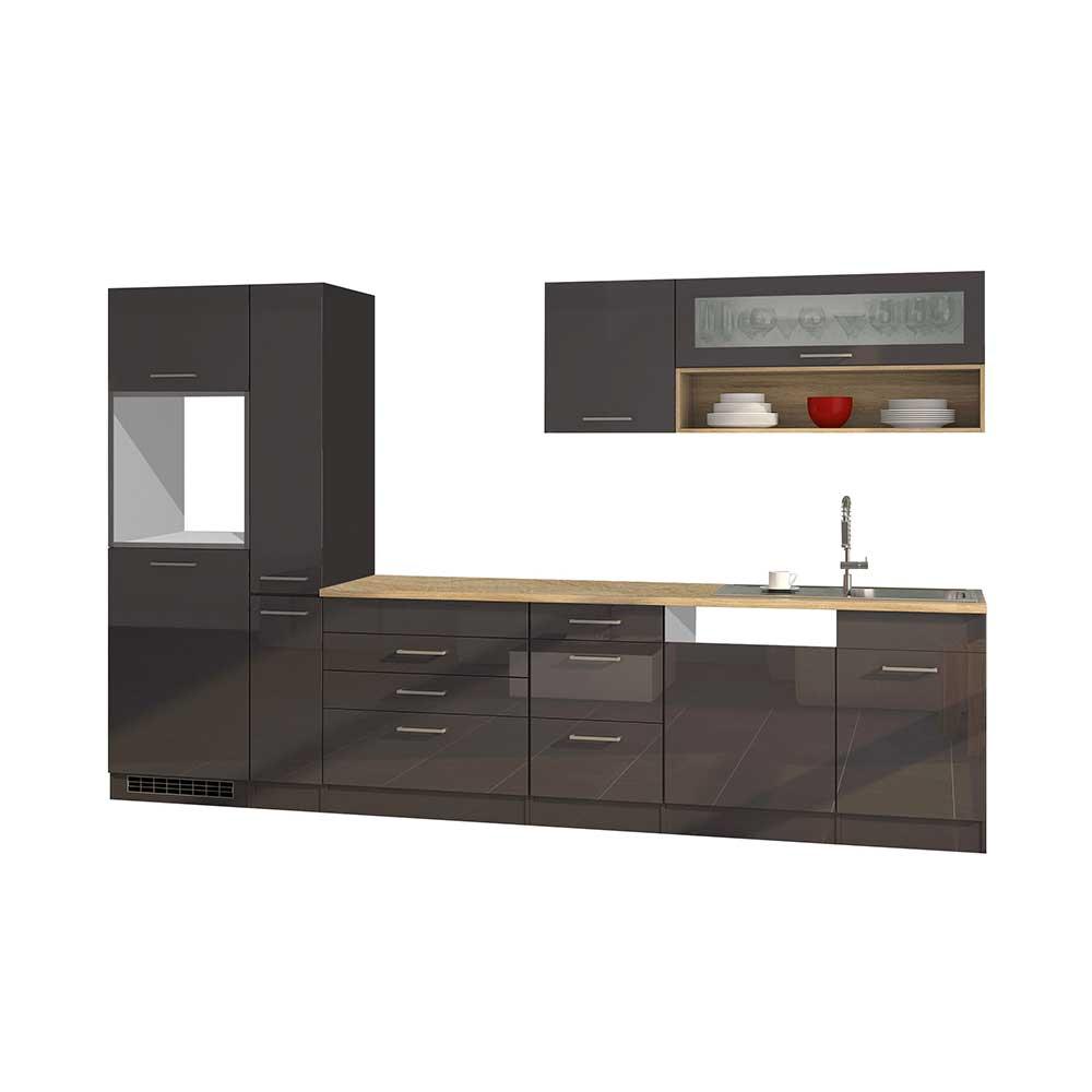 Hochglanz Küchenblock in Grau 330 cm breit (neunteilig)