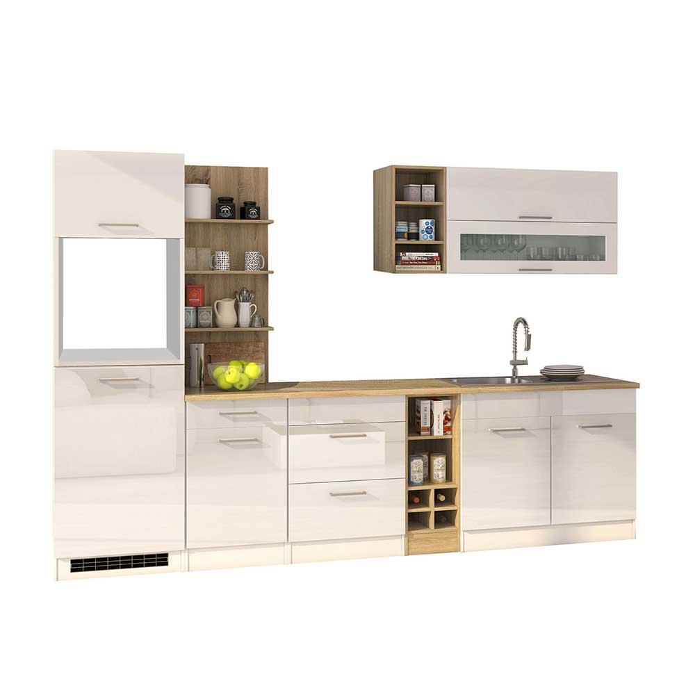 Design Küchenblock in Weiß Hochglanz 300 cm breit (neunteilig)