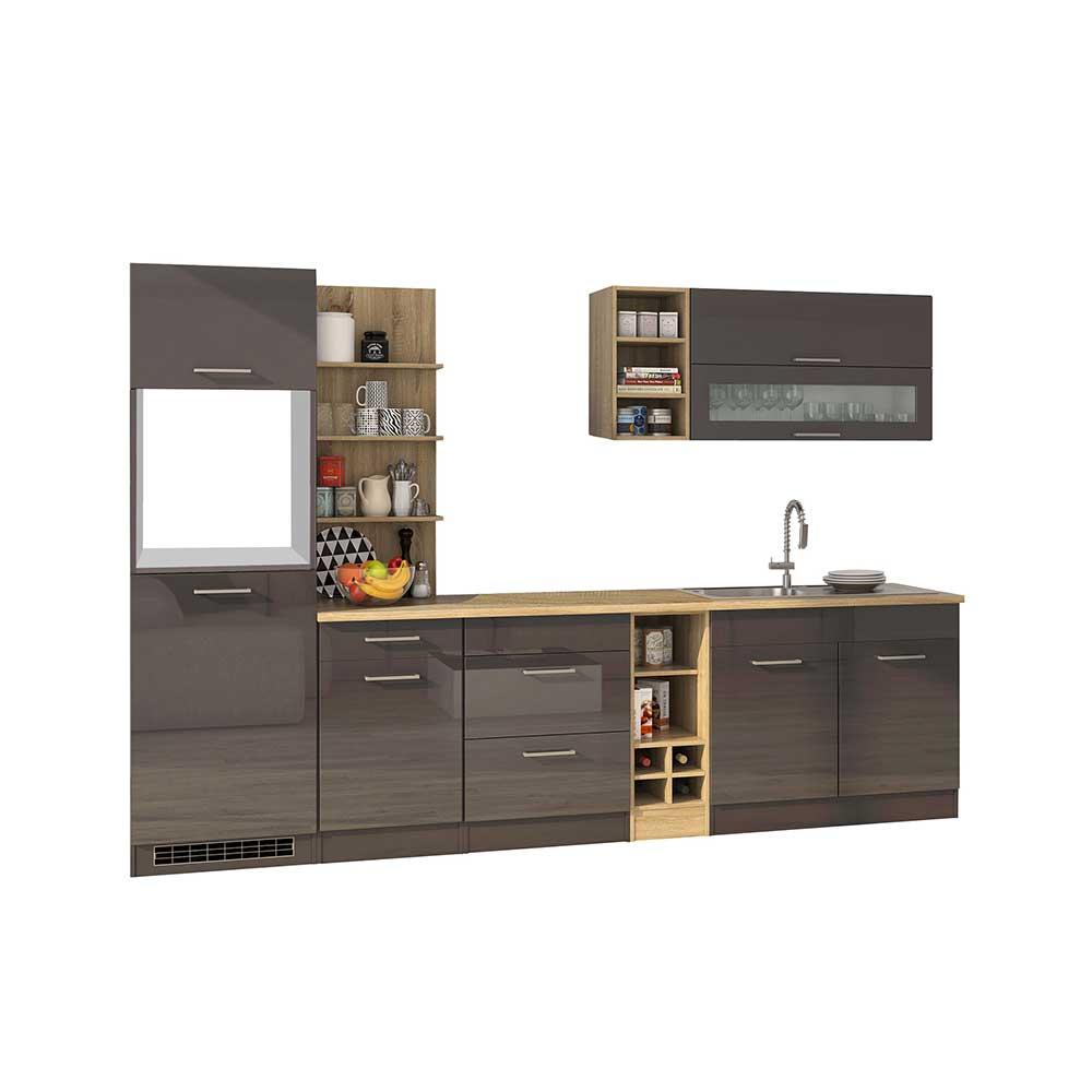 Design Küchenblock in Grau hochglänzend 300 cm breit (neunteilig)