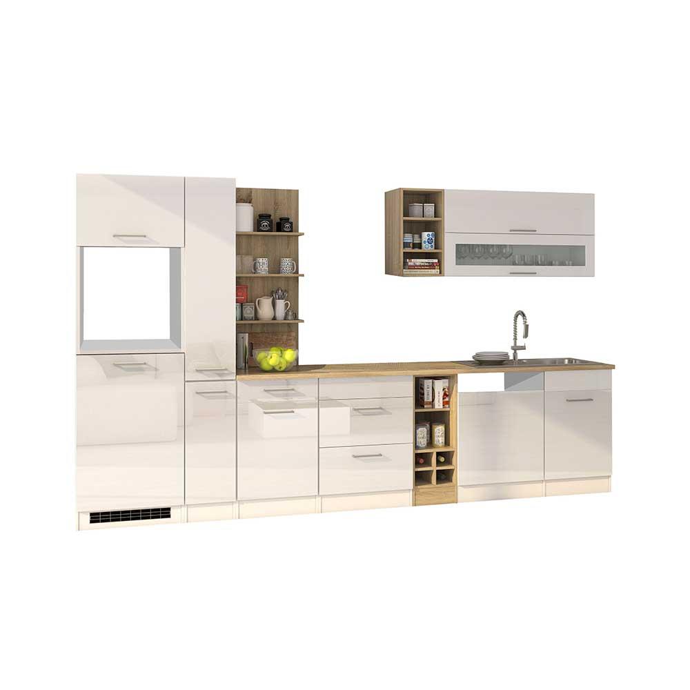 Hochglanz Einbauküche in Weiß Elektrogeräte (zehnteilig)