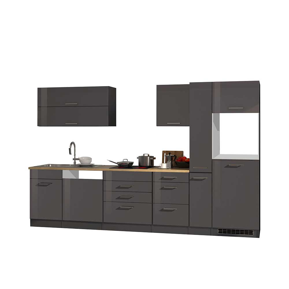 Küchenblock 330 cm breit Grau Hochglanz (achtteilig)