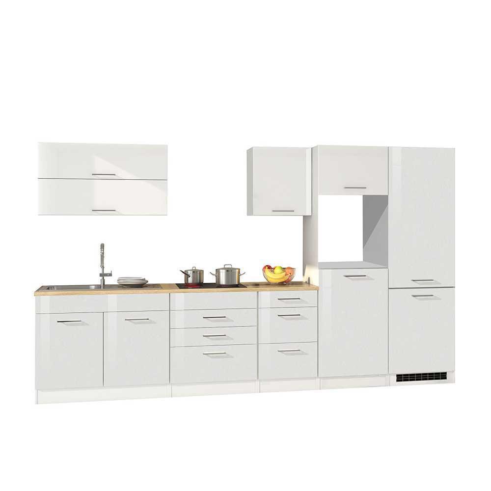 Hochglanz Küchenblock in Weiß 350 cm breit (achtteilig)