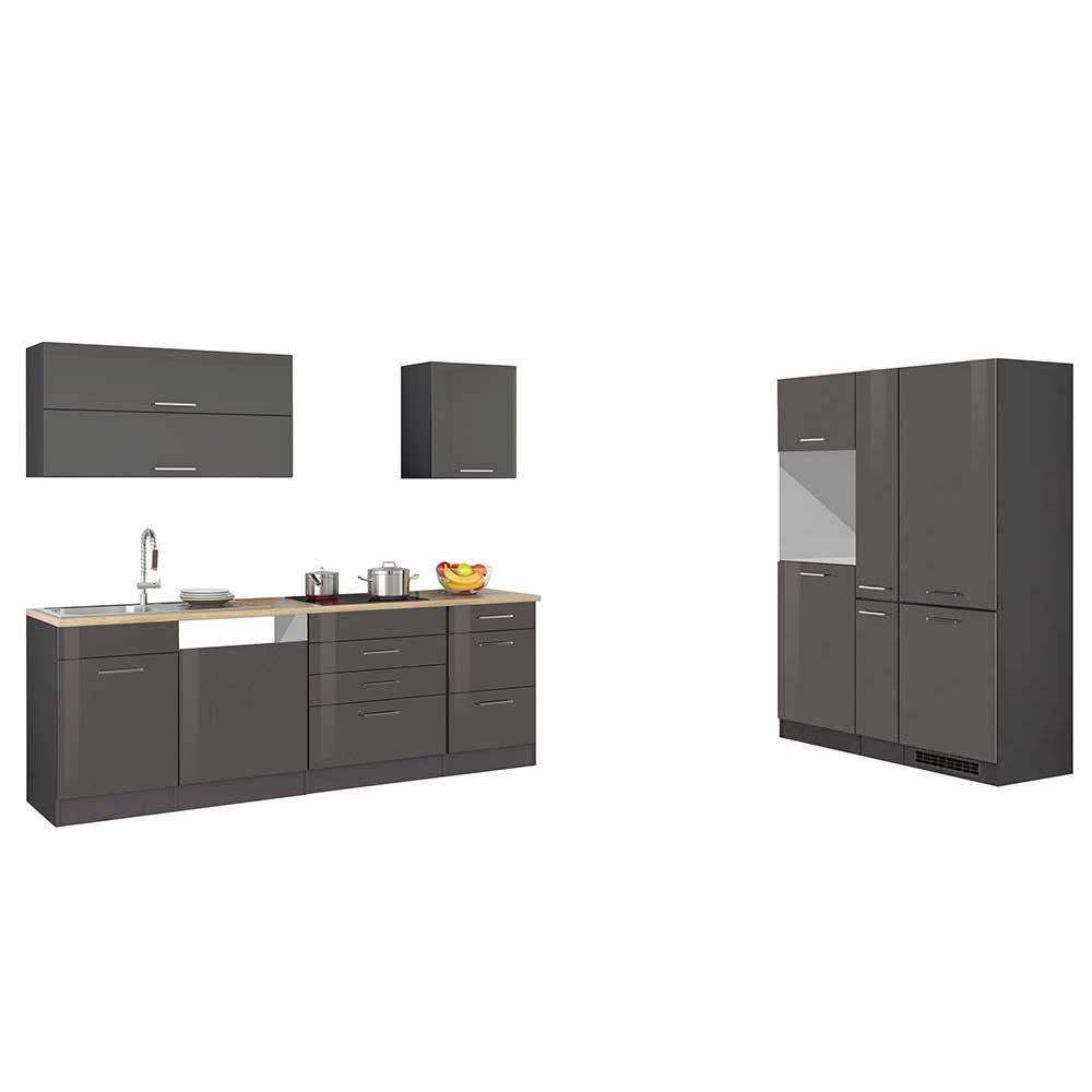 Küchenblock in Hochglanz Grau 390 cm breit (neunteilig)