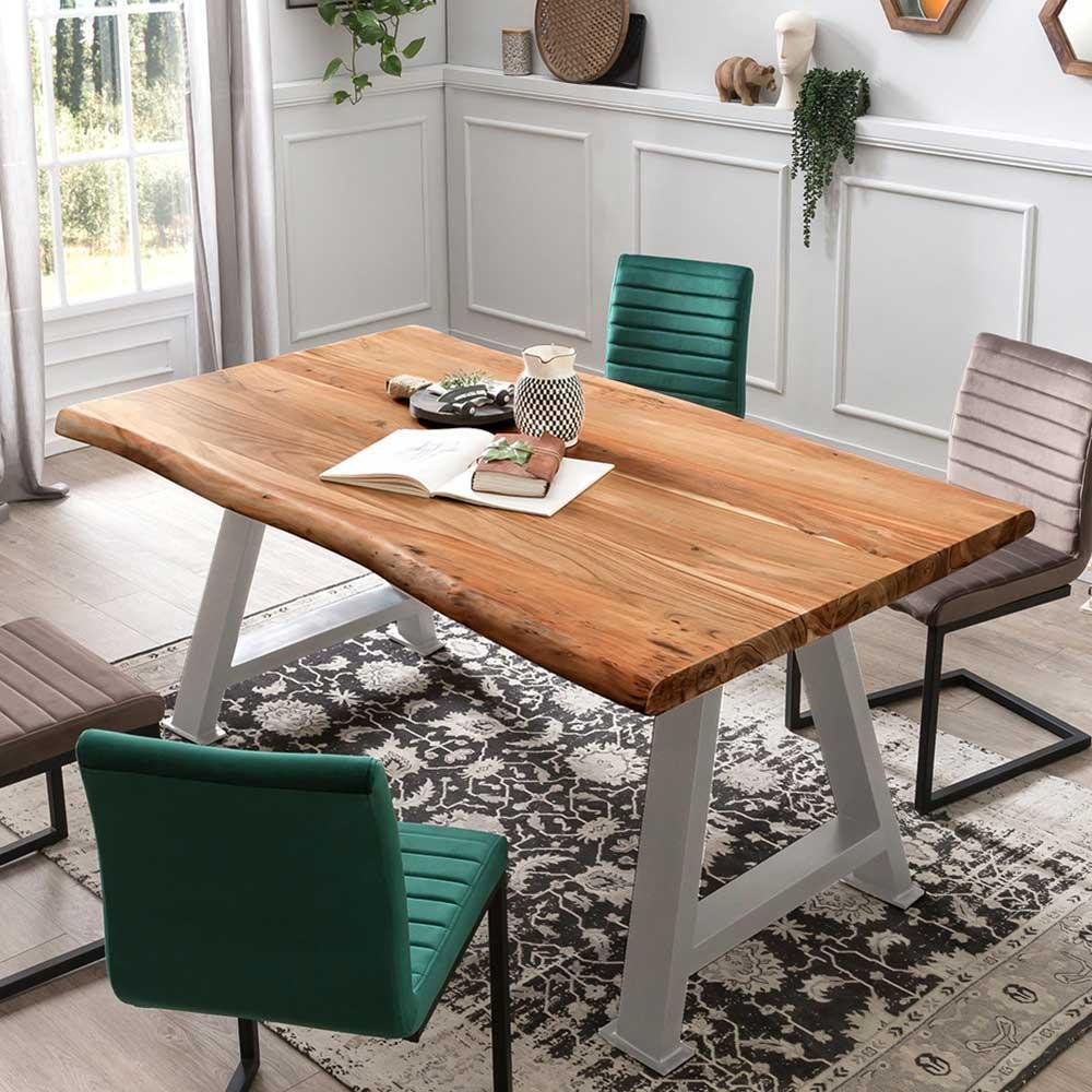 Baumkanten Esstisch aus Akazie Massivholz Metall in Silberfarben