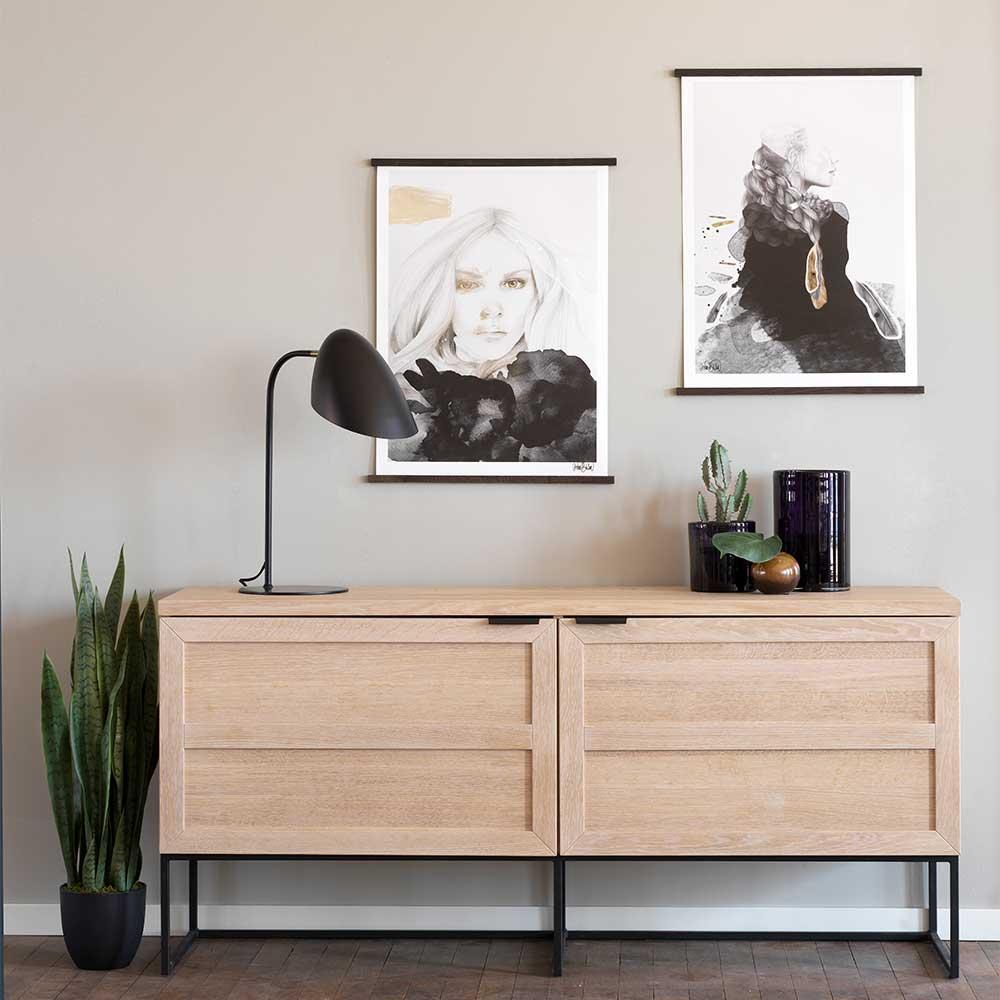 Wohnzimmer Sideboard aus Eiche White Wash massiv 160 cm breit