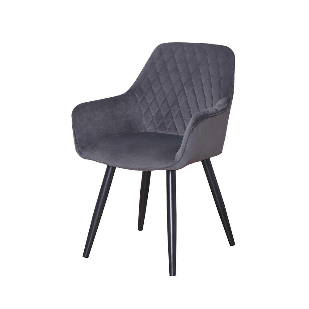 Esstisch Stühle in Grau Microfaser Metallbeinen in Schwarz (2er Set)