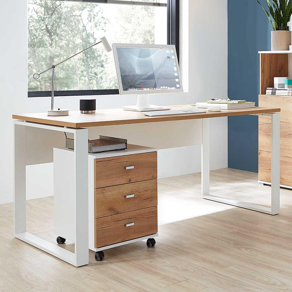 Büroschreibtisch in Weiß und Dekor Wildeiche dunkel Rollcontainer (zweiteilig)