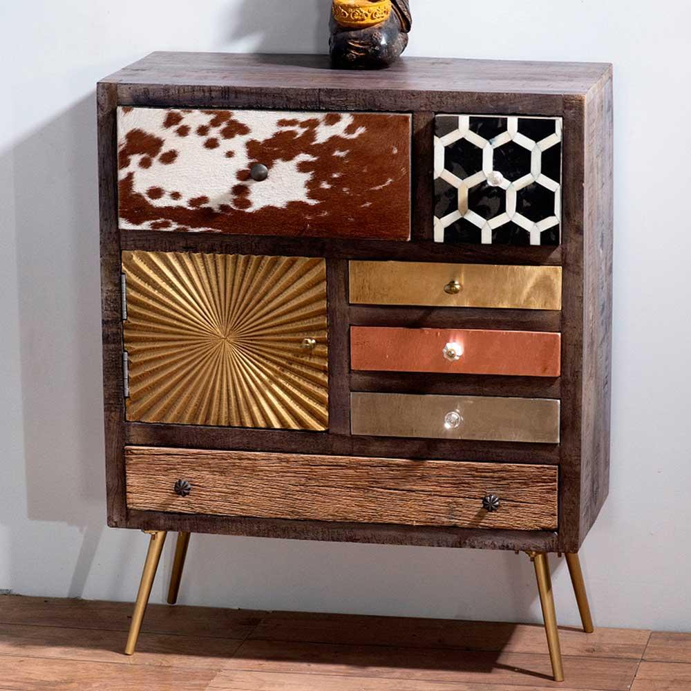 Design Kommode mit sechs Schubladen und Tür 75 cm breit