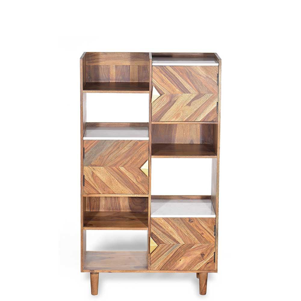 Standregal aus Sheesham Massivholz und Marmorplatte 80 cm breit | Wohnzimmer > Regale | Möbel Exclusive