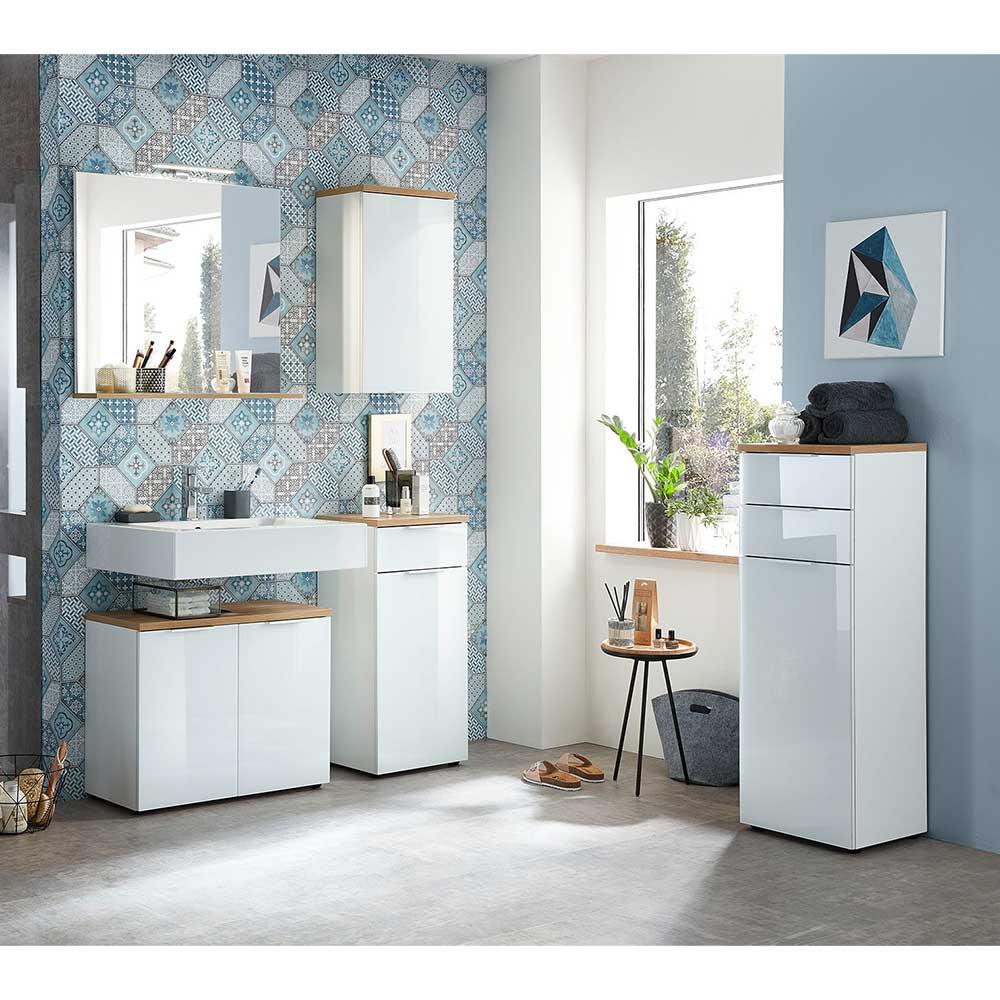 Badmöbel Set in Weiß und Eichefarben Made in Germany (fünfteilig)