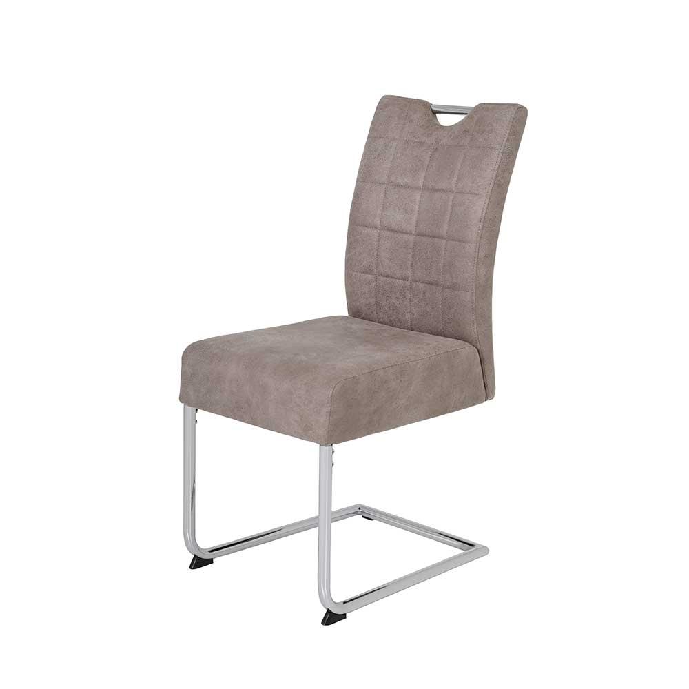 Esstisch Stühle in Beige Kunstleder verchromtem Freischwingergestell (2er Set)