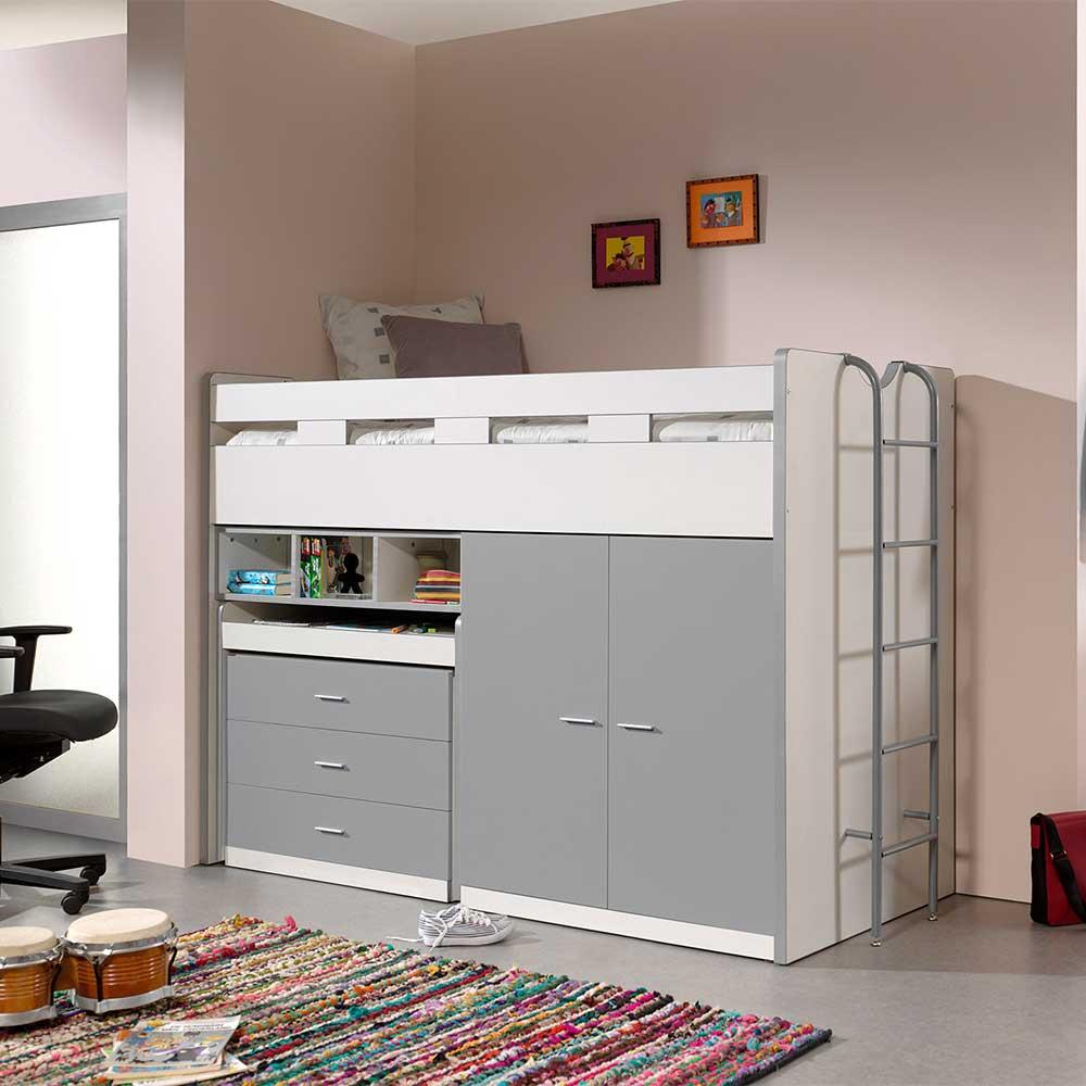 Kinderzimmer Bett mit Schrank und Schreibtisch Silberfarben und Weiß | Kinderzimmer > Kinderzimmerschränke | 4Home