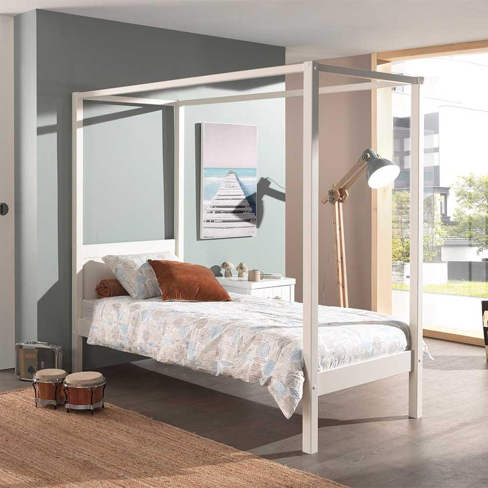 Weißes Himmelbettgestell aus Kiefer Massivholz modern