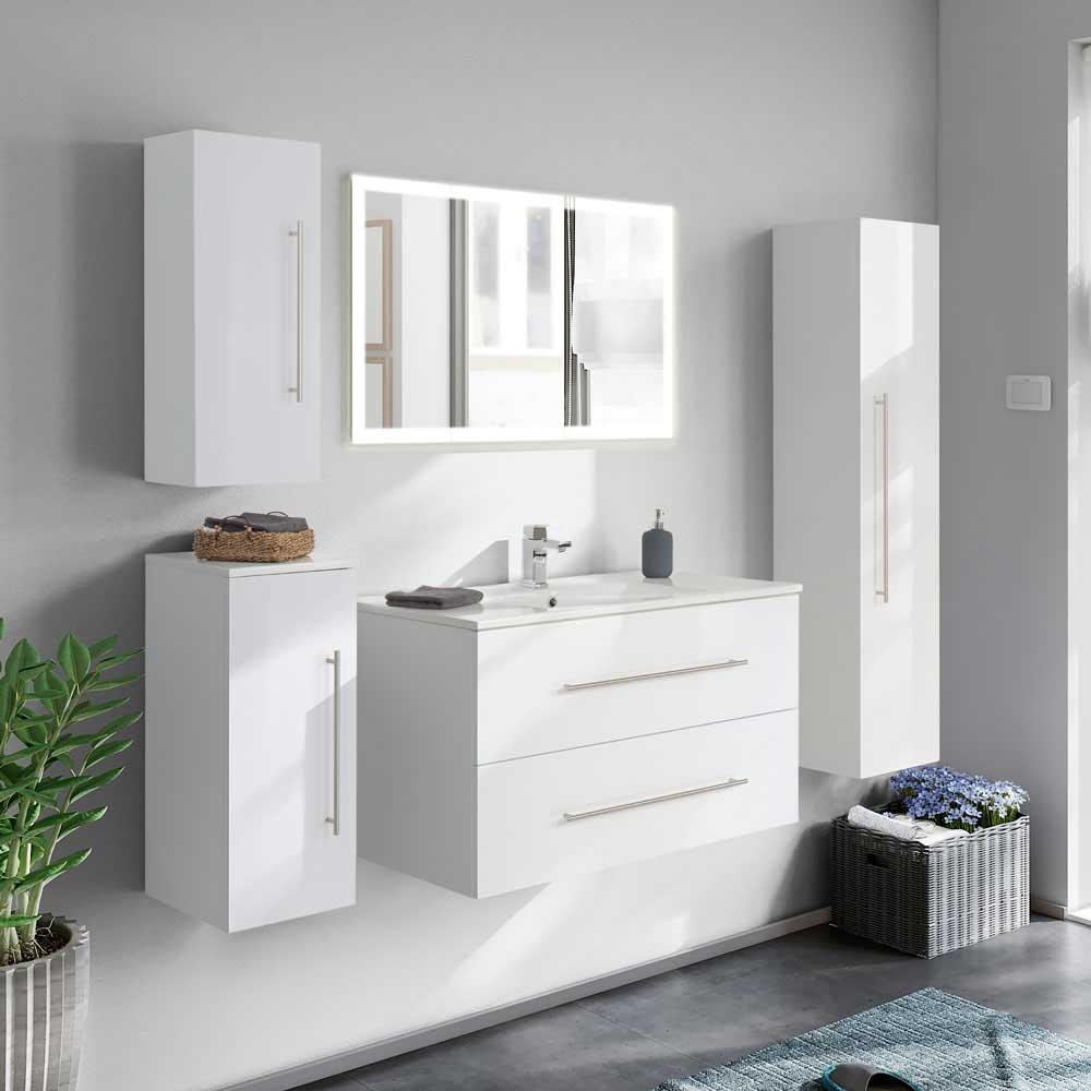 Komplett Badmöbel Set in Weiß Hochglanz LED Beleuchtung (fünfteilig)