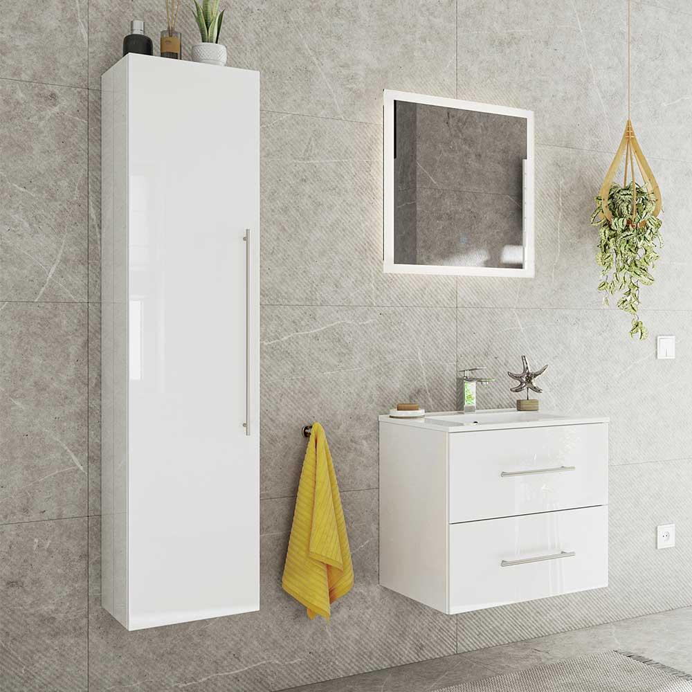 Hochglanz Badmöbel in Weiß LED Beleuchtung (dreiteilig)