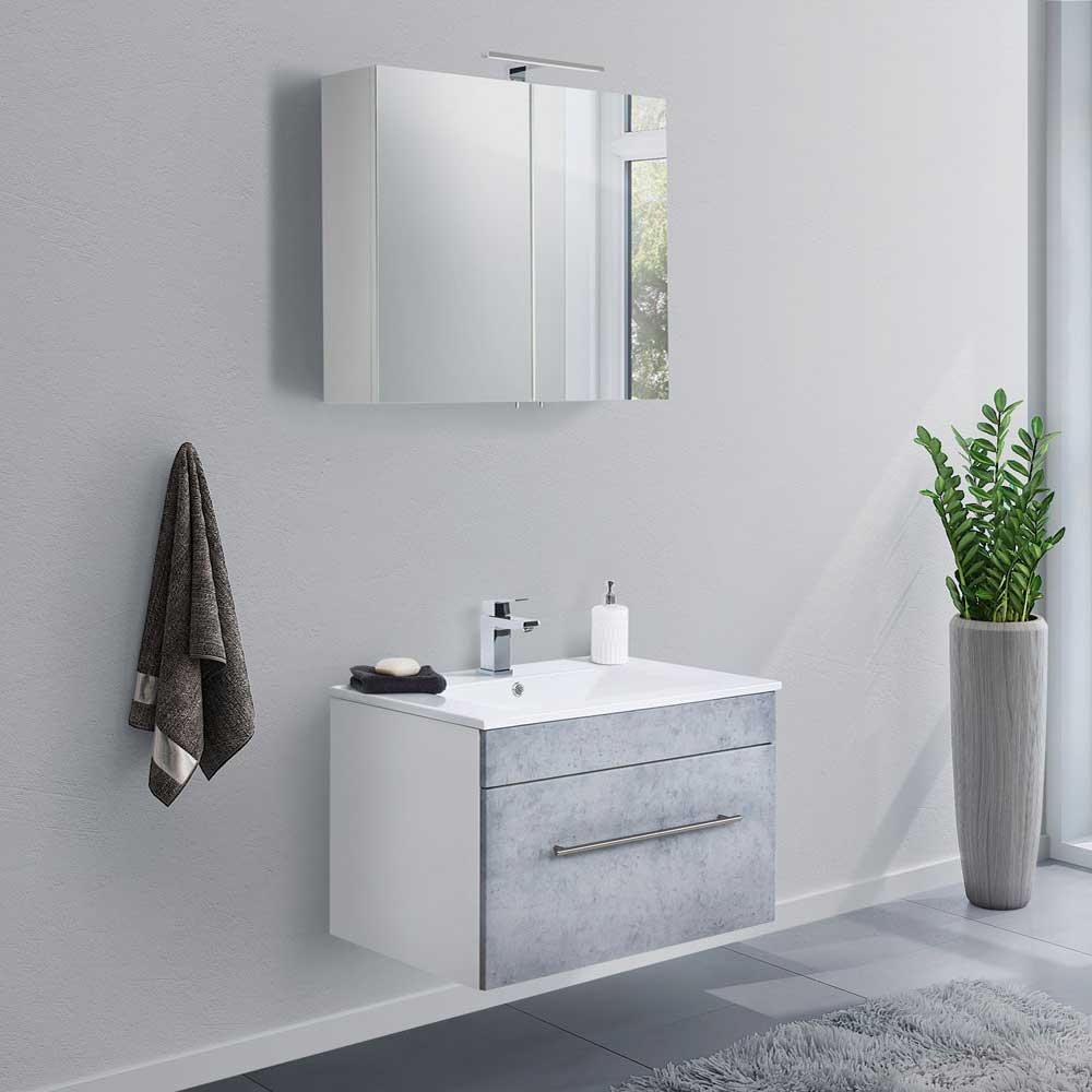 Badmöbel Set in Beton Grau und Weiß Waschtisch (zweiteilig)