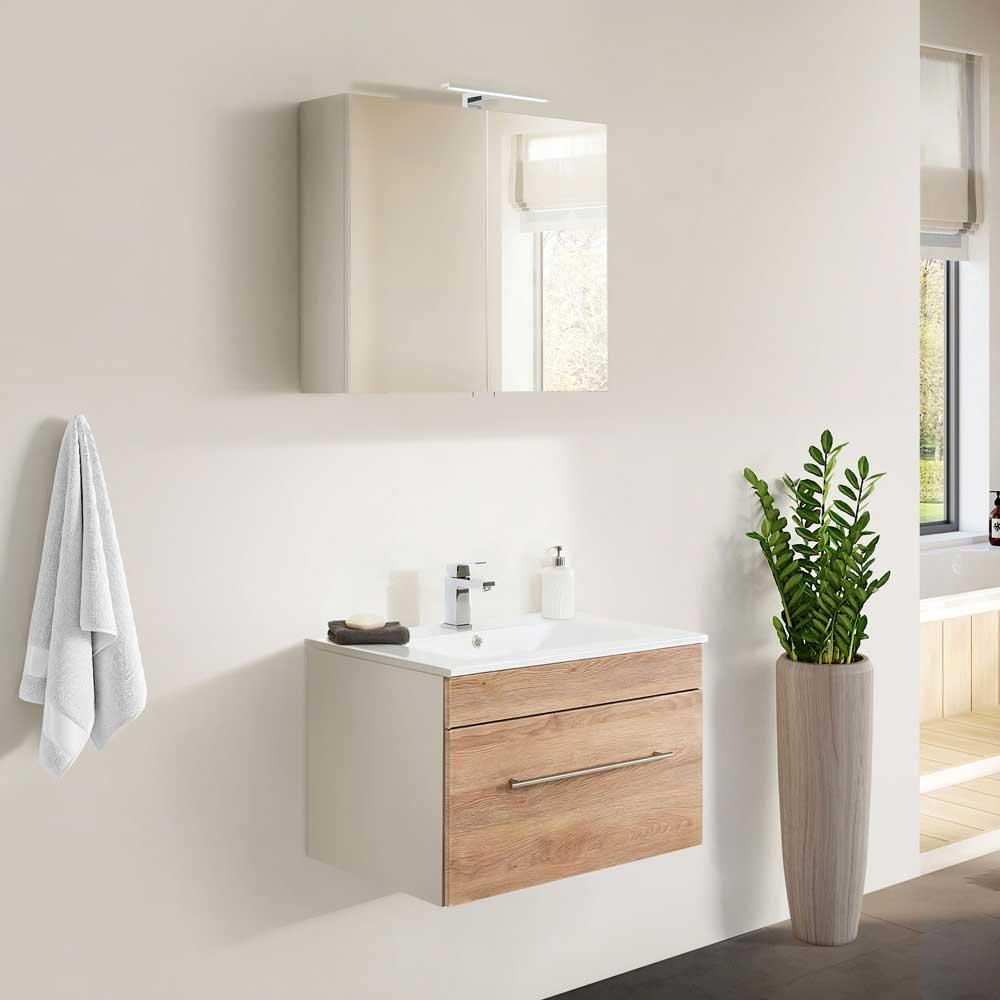 Badezimmerset in Weiß und Eiche Optik Made in Germany (zweiteilig)