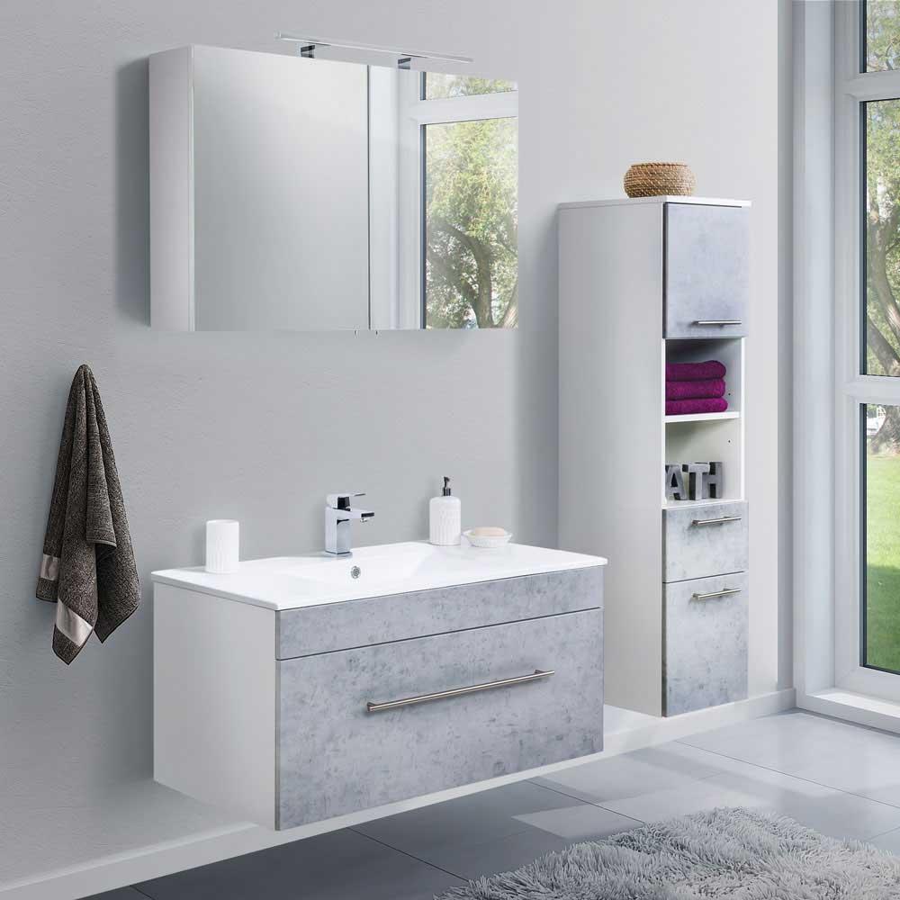 Komplett Badmöbel Set in Beton Grau und Weiß Made in Germany (dreiteilig)