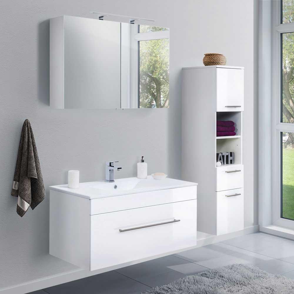 Badezimmerset in Hochglanz Weiß LED Spiegelschrank (dreiteilig)