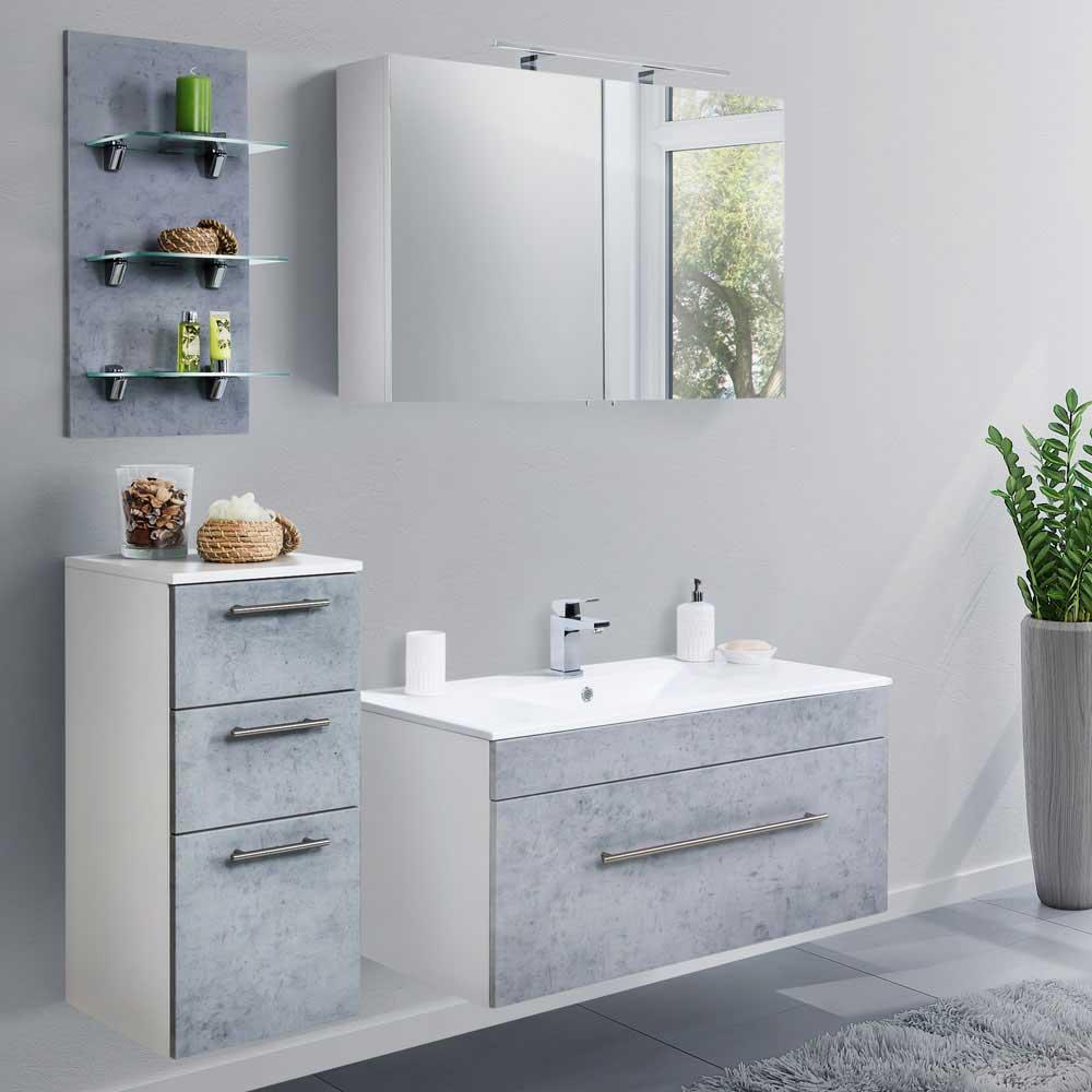 Badezimmerset in Beton Grau und Weiß Made in Germany (vierteilig)