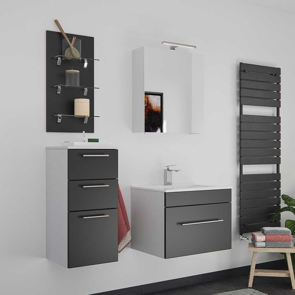 Design Badmöbel Set in Schwarz und Weiß LED Beleuchtung (vierteilig)