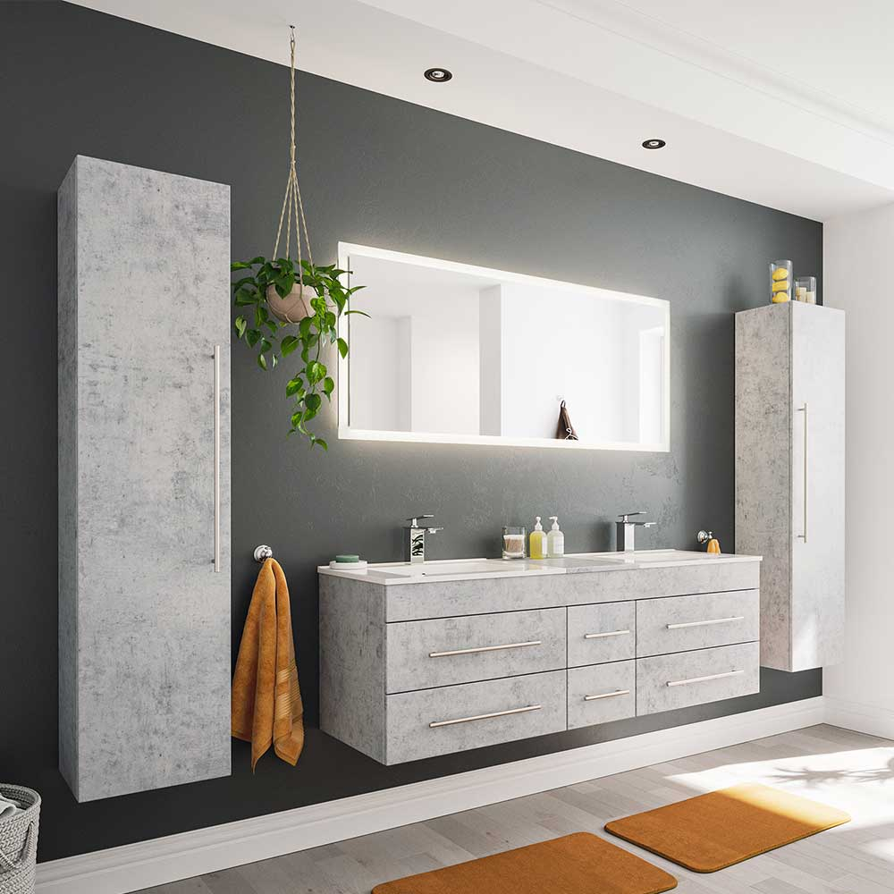 Badmöbel Kombination mit Doppel Waschtisch Beton Grau (vierteilig)