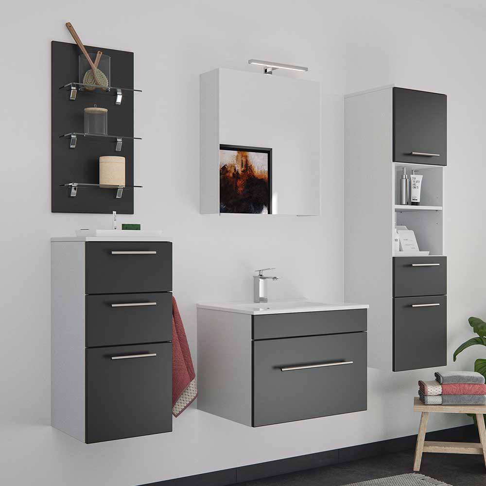 Wand Badmöbel Set in Schwarz und Weiß LED Beleuchtung (fünfteilig)