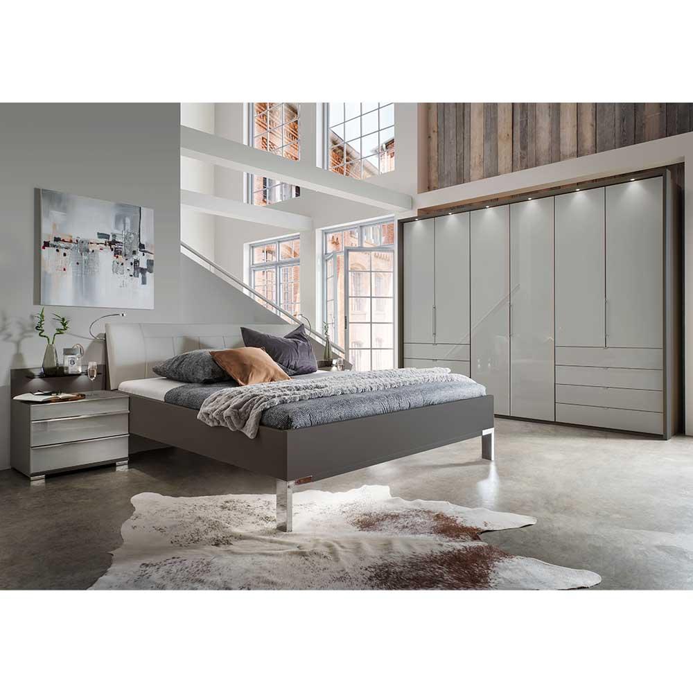 Schlafzimmerset in Hellgrau Braun Made in Germany (vierteilig)
