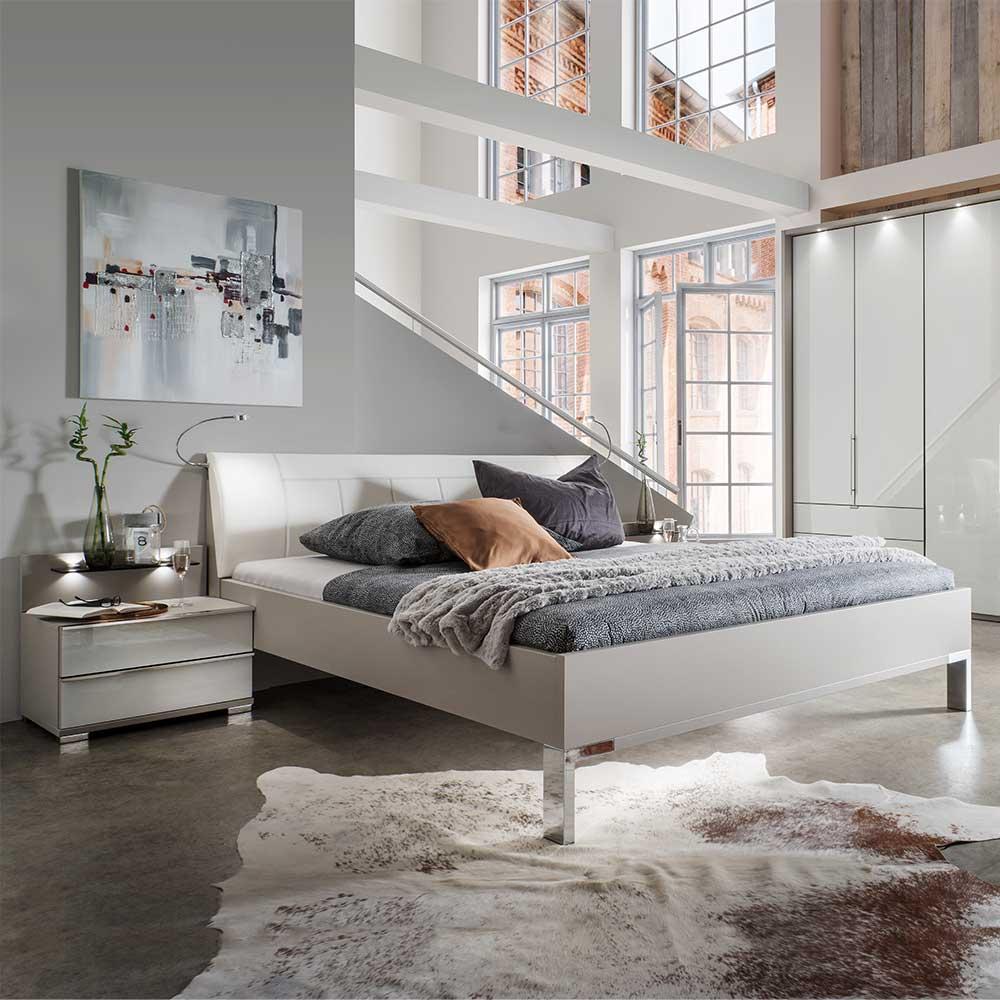 Bett in Hellgrau Weiß LED Beleuchtung (3-teilig)