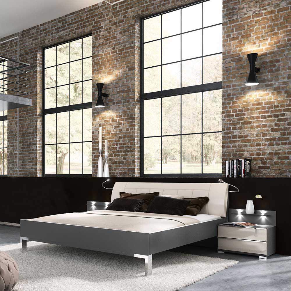Design Doppelbett mit Nachtkonsolen LED Beleuchtung (3-teilig)