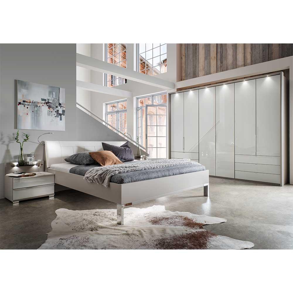 Komplettschlafzimmer in Hellgrau und Weiß Falttürenschrank (vierteilig)