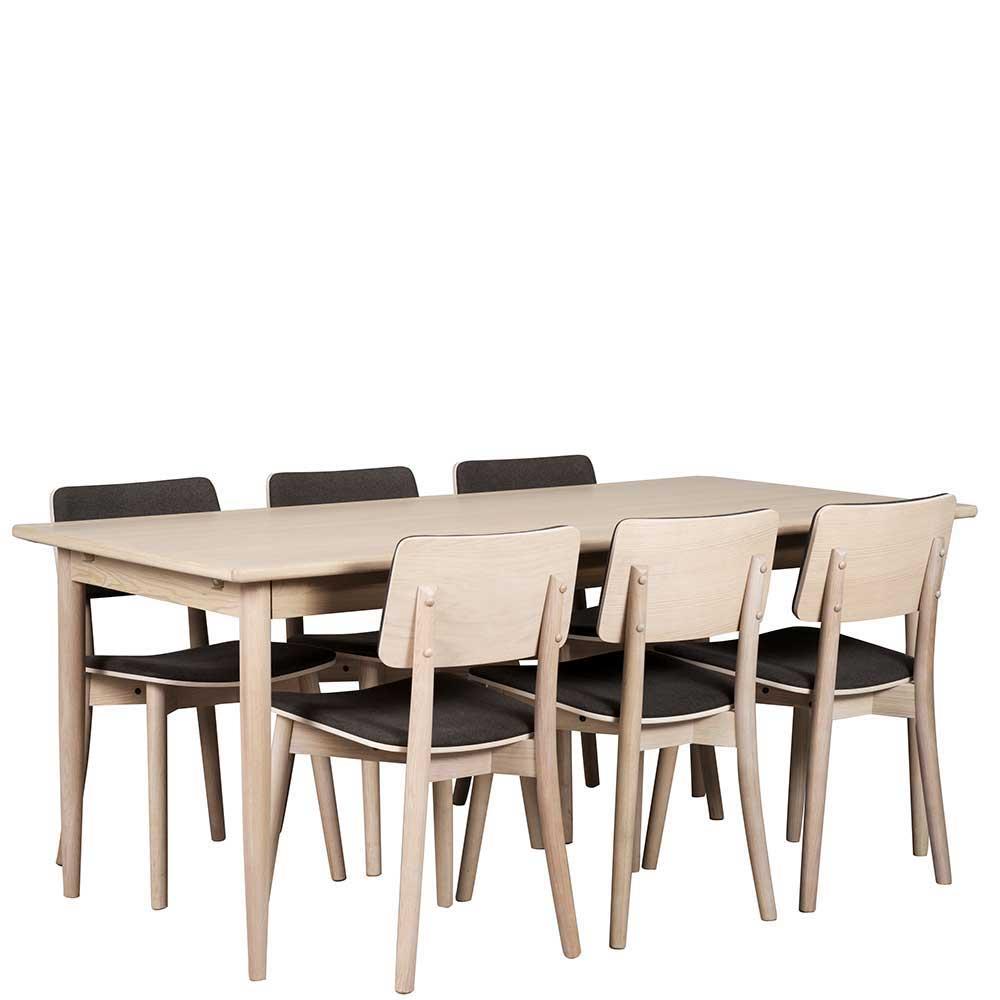 Esszimmer Sitzgruppe aus Eiche White Wash massiv Skandi Design (7-teilig) | Küche und Esszimmer > Essgruppen > Essgruppen | Eiche - Spanplatte - Webstoff - Lackiert - Furniert | TopDesign