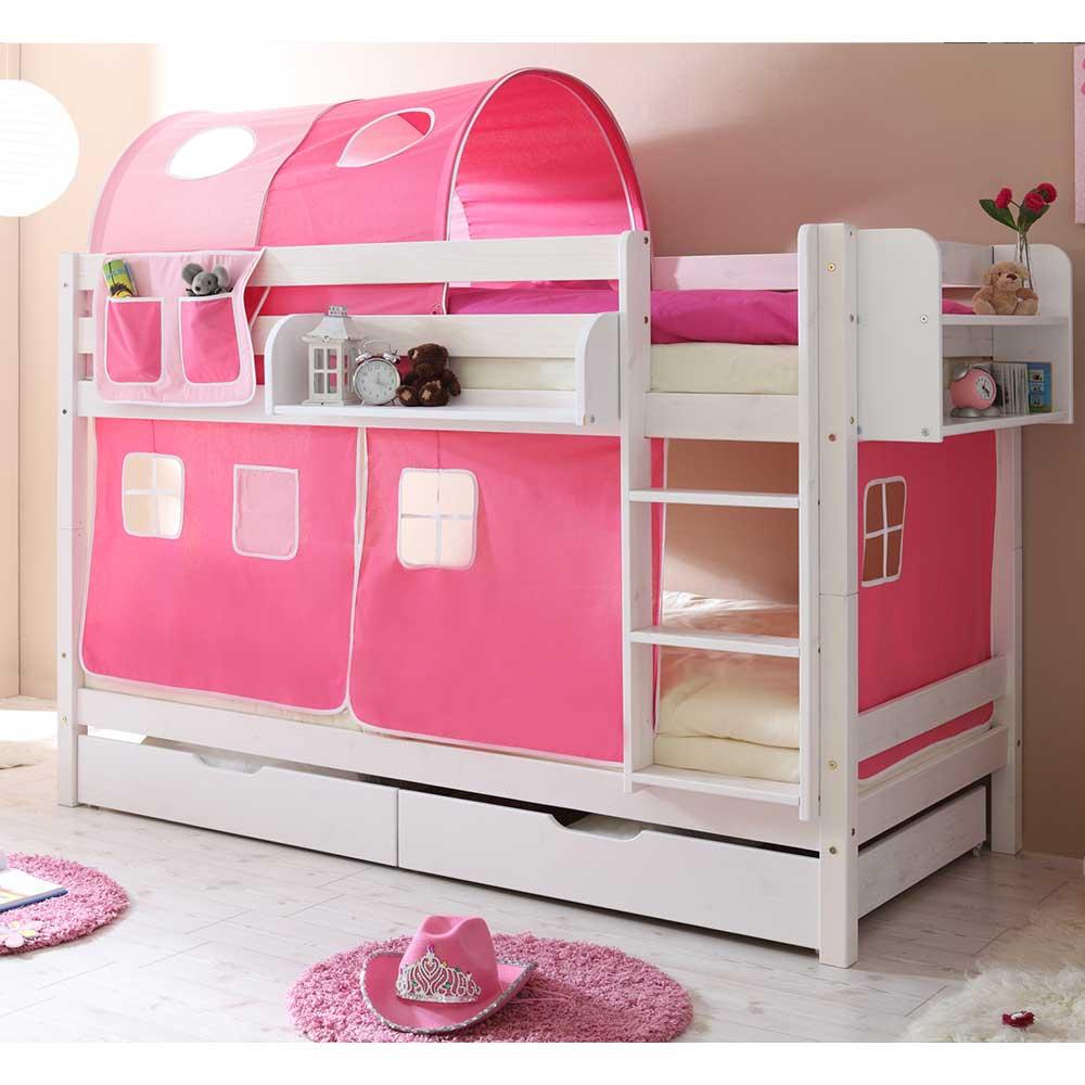 Etagenbett in Weiß, Pink und Rosa 140 cm hoch | Kinderzimmer > Kinderbetten > Etagenbetten | Massivio