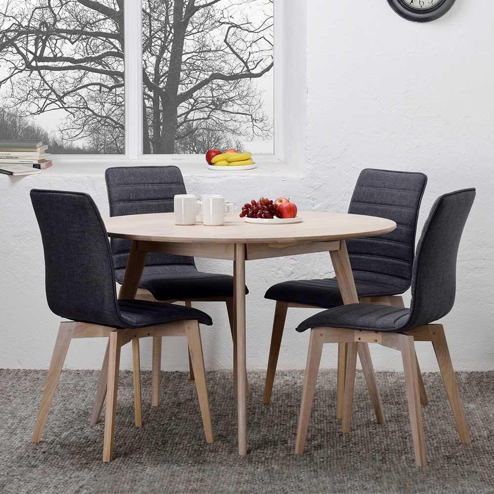 Retro Essgruppe mit rundem Tisch in Eiche White Wash Stühlen in Anthrazit (fünfteilig)
