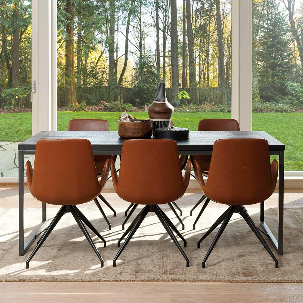 Esszimmergarnitur aus Kiefer Massivholz in Schwarz Cognac Braun Kunstleder (7-teilig) | Küche und Esszimmer > Essgruppen | TopDesign